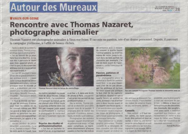 Journal Le Courrier de Mantes qui présente Thomas Nazaret Photographe à Vaux sur Seine